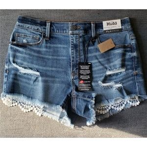 Destructed Crochet Pocket Jean Shorts